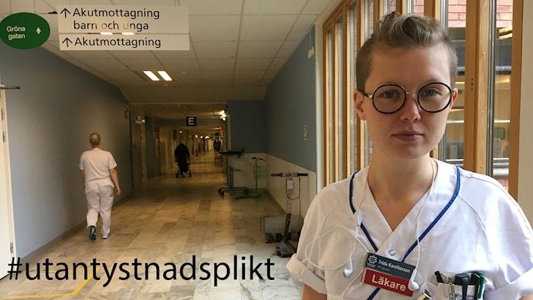 läkare i sjukhuskorridor med texten #utantystnadsplikt