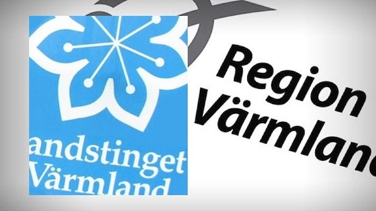 Logotyper för landstinget och Region Värmland. Foto: Sveriges Radio.