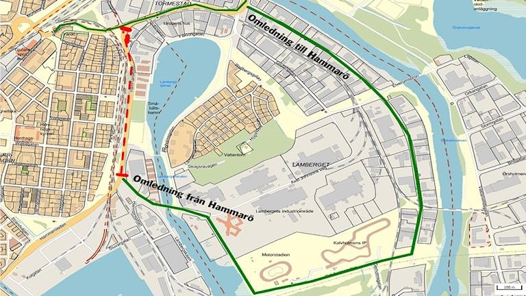 n kartbild över stadsdel i Karlstad. Karta/Karlstads kommun.