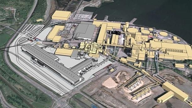 Skiss som visar var den nya kartongfabriken ska ligga. Skiss: Billerud Korsnäs/Tengbom