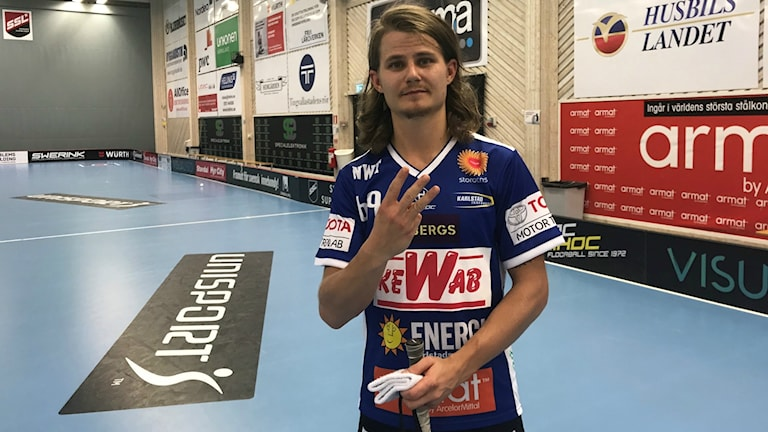 Tre mål blev det från Kevin Björkströms klubba. Foto: Daniel Viklund/ Sveriges Radio.