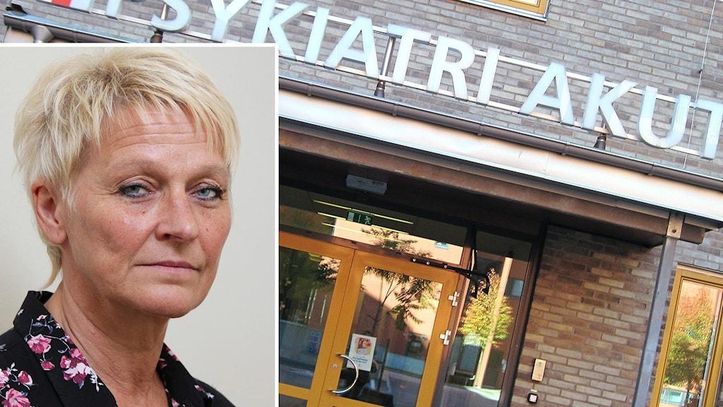 Anki Nordmarker, infälld i bilden som visar entrén till psykakuten. Foto: Örjan Bengtzing/Sveriges Radio och Kajsa Carlsson/Sveriges Radio.