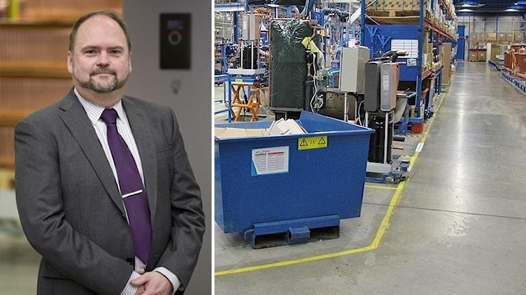 Magnus Glavmo och en bild från fabriken. Foto: Pressbild och Sveriges Radio.