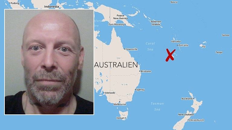 Hans Mikael Dalgren och en karta som visar var Nya Kaledonien ligger. Foto: Privat och TT.