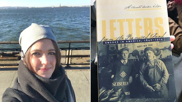 Malin Hansson och bild på en bok om svenskar i Amerika. Foto: Privat.