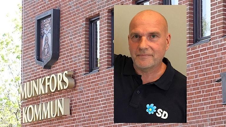 Munkfors kommunhus och Runar Filper (infälld). Foto: Sveriges Radio