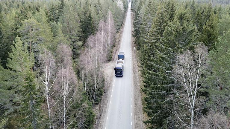 En lastbil på en landsväg. Foto: Fredrik Sandberg/TT.