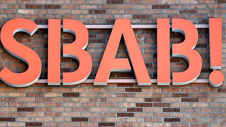 SBAB:s logotype på en vägg. Foto: Anders Wiklund/TT.