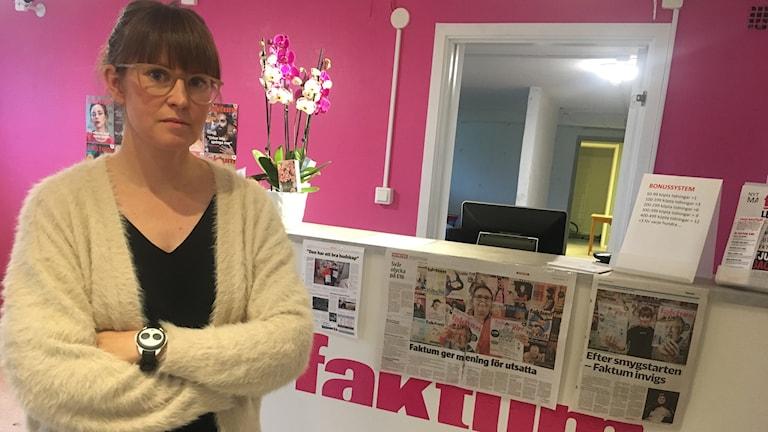 Mia Larsson på Faktums nyöppnade kontor i Karlstad.