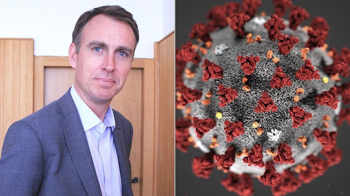Carl Norell och en närbild på coronavirus. Foto: Pressbild och Lizabeth Menzies/AFP.