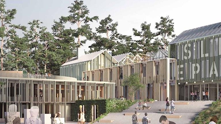 En grafisk bild som visar hur nya högstadieskolan skulle kunna bli. Grafik: Brunnberg & Forshed.