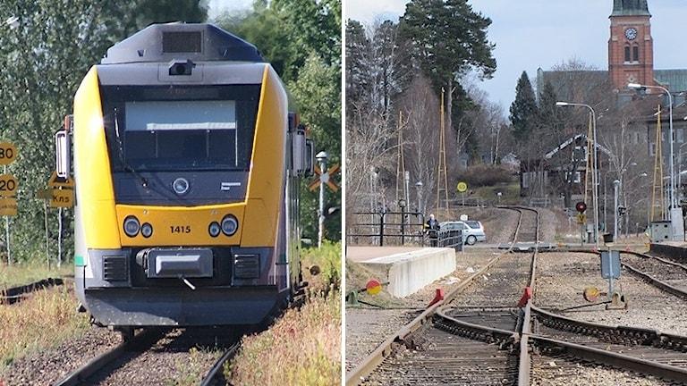 Ett tåg och en bild från järnvägsstationen i Torsby. Foto: Sveriges Radio.