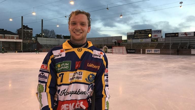 Daniel Rönning efter matchen mot Motala som slutade 2-2. Foto: Daniel Viklund/Sveriges Radio.