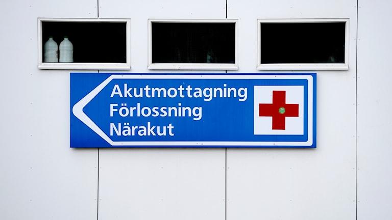 Skylt mot förlossning på sjukhusväg. Foto:PONTUS LUNDAHL /TT
