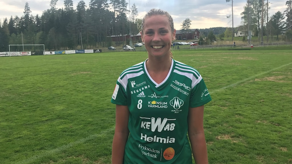 Målskytten Olivia Holm efter vinsten mot Östersunds DFF med 2-0. Foto: Daniel Viklund/ Sveriges Radio.