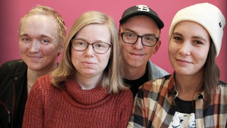 Erik Karlberg, Sabina Nilsson, Alexander Lidh och Sara Axelsson. Foto: Lars-Gunnar Olsson/Sveriges Radio.