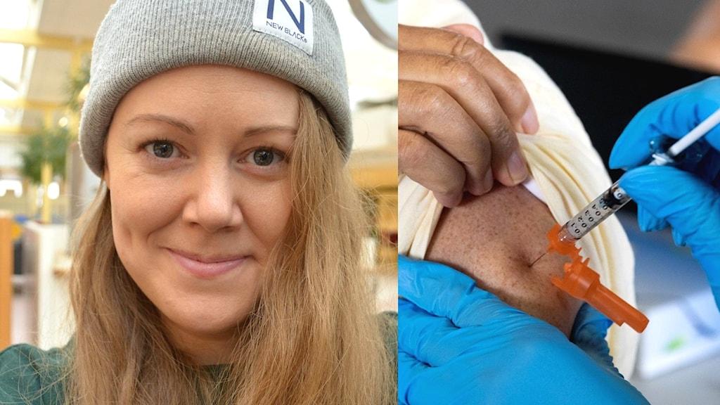 Emma Dalman och vaccinationsspruta