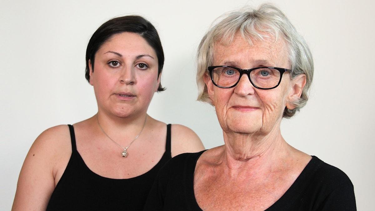 Brottsofferjourens Asal Narimani och Monica Ekström. Foto: Lars-Gunnar Olsson/Sveriges Radio.