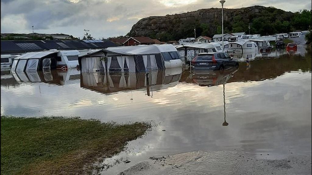 Översvämmad camping i Bohuslän. Foto: Linda Halldén