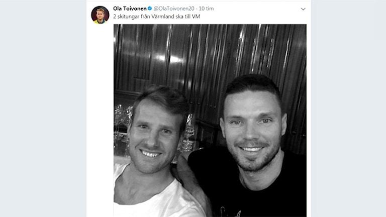 Skärmdump från Ola Toivonens twitterflöde. Skärmdump