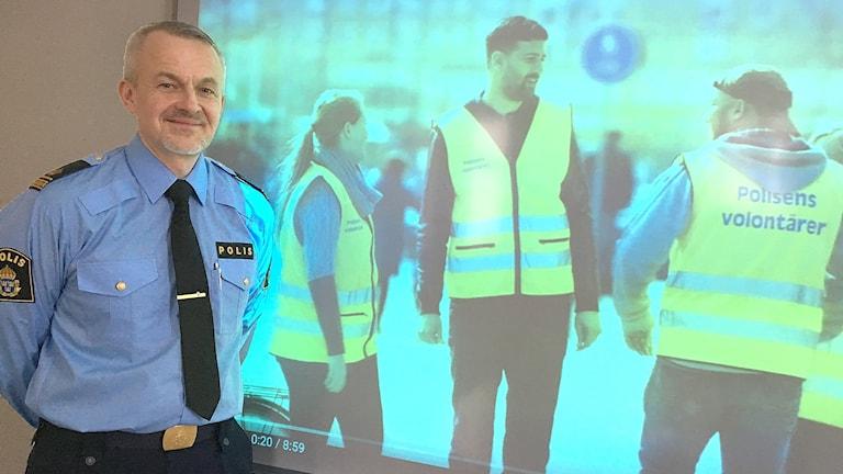 Anders Johansson, kommunpolis. Foto: Sara Johansson/Sveriges Radio.