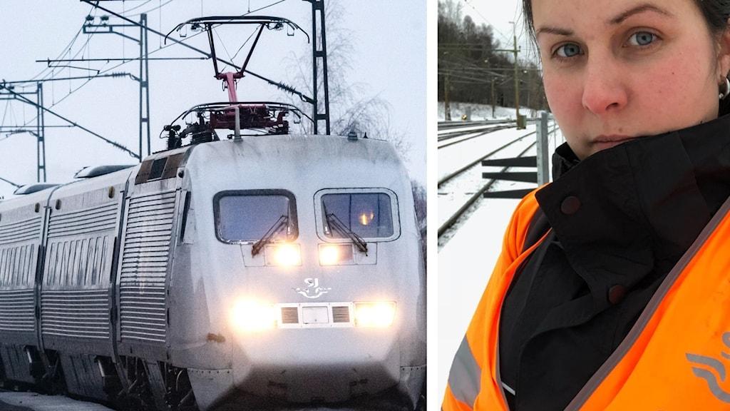 collage med kvinna och ett tåg