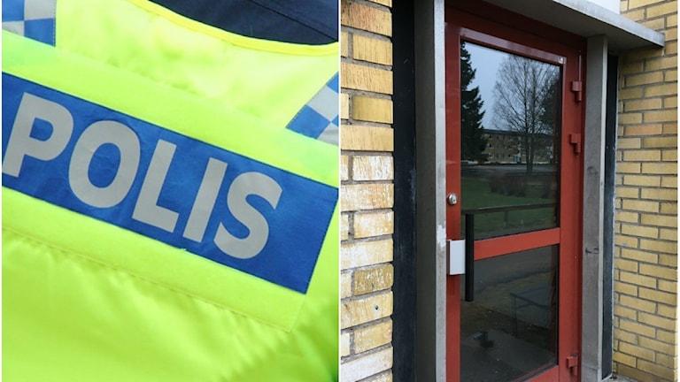 En polis och den trappuppgång där den knivskurne mannen hittades. Foto: Sveriges Radio.