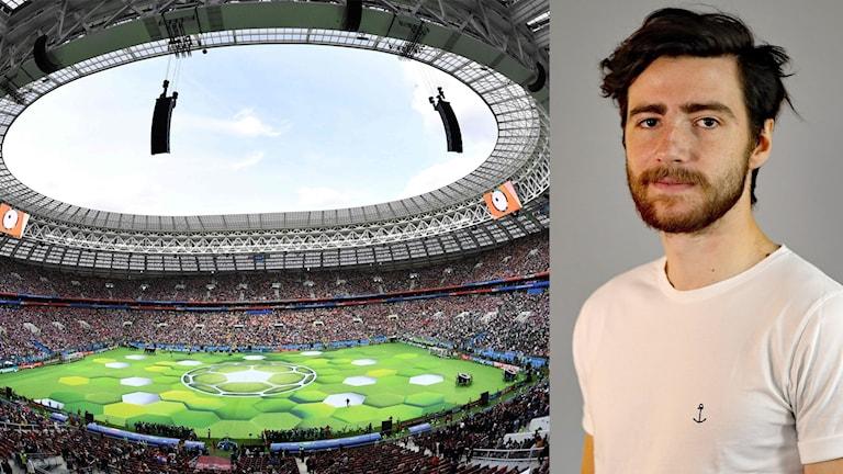 Luzhniki Stadium i Moskva och Osman Sadikovic. Foto: Mladen Antonov/TT och Örjan Bengtzing/Sveriges Radio.