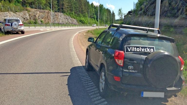 Eftersök av varg på riksväg 61. Foto: Örjan Bengtzing/Sveriges Radio.