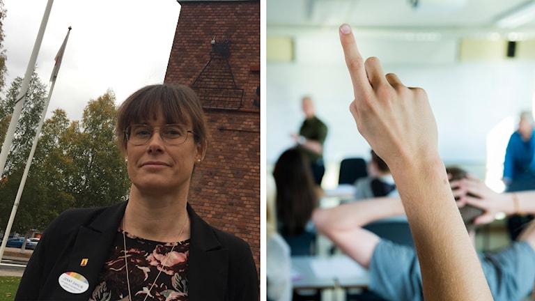 Jenny Dahlin, biträdande barn- och utbildningschef i Hagfors, och en elev som räcker upp handen.
