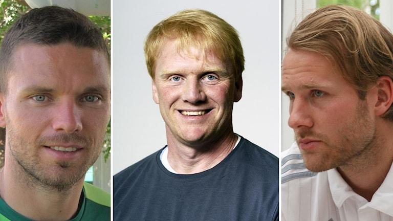 Marcus Berg, Krister Engström och Ola Toivonen. Foto: Sveriges Radio och Stefan Lindblom/TT.