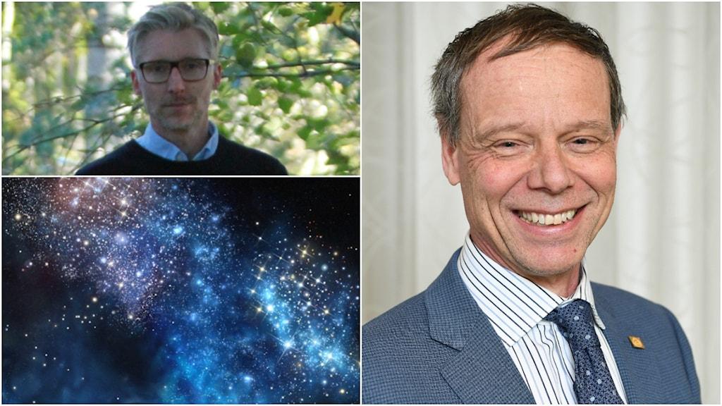Montage med två män och en galax.