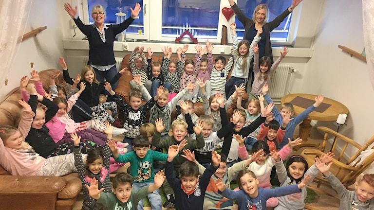Förskoleklass A och B på Östra skolan i Sunne. Foto: Louise Uhlin/Sveriges Radio.
