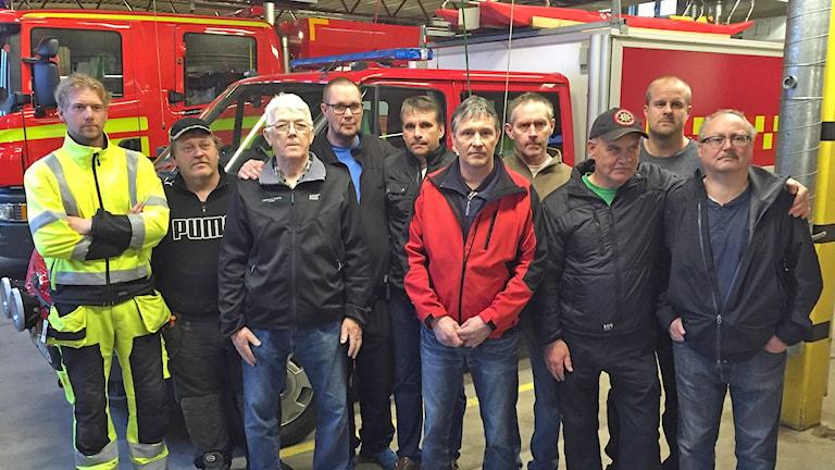 Brandmän från Stöllet och Sysslebäck. Foto: Robert Ojala/Sveriges Radio.