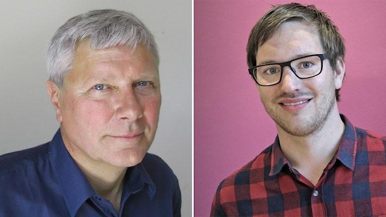 Lars Ohly och Håkan Svenneling (V). Foto: Lars-Gunnar Olsson/Sveriges Radio.