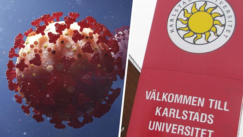 Ett coronavirus i närbild och skylt med texten Välkommen till Karlstads universitet. Foto: Stefan Hörberg/Rithuset och Lars-Gunnar Olsson/Sveriges Radio.