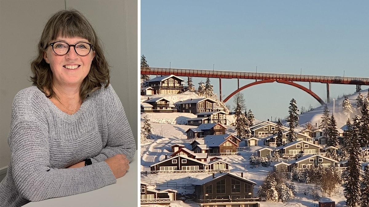 Charlotta Nelsson och en bild från Branäs. Foto: Amanda Moln/Sveriges Radio och Aron Eriksson/Sveriges Radio.