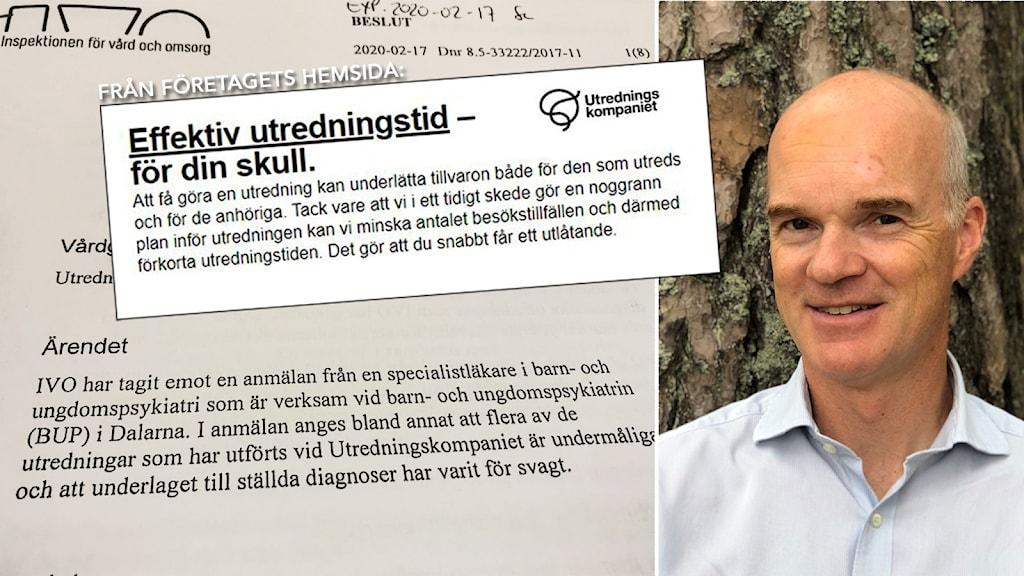 Sven Román och ärendet hos IVO. Foto: Hedvig Nilsson/Sveriges radio och privat
