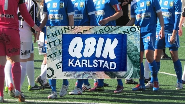 Qbiks klubbmärke, spelare och sedlar. Foto: Sveriges Radio/TT.