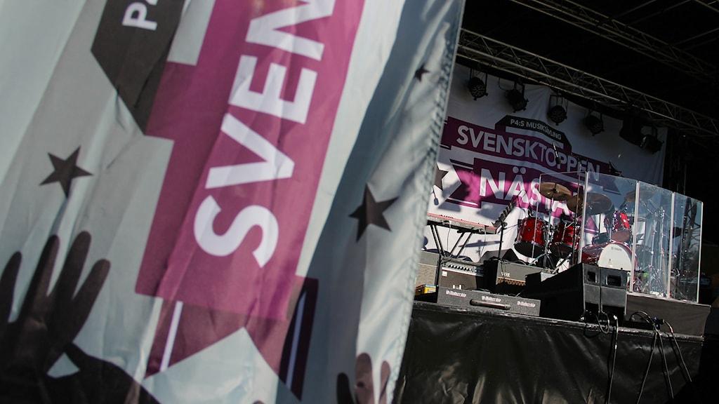 Scenen där länsfinalen av Svensktoppen nästa avgjordes. Foto: Lars-Gunnar Olsson/Sveriges Radio.
