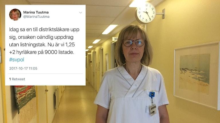 Kvinna i vit läkarsarong i vårdcentralskorridor