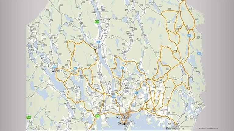 Karta som visar utmärkta vägar i Värmland. Grafik/Vägverket
