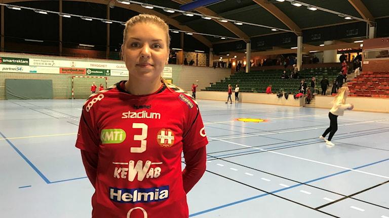 Helltons Lina Hillgren efter segern mot AIK. Foto: Daniel Viklund/ Sveriges Radio.