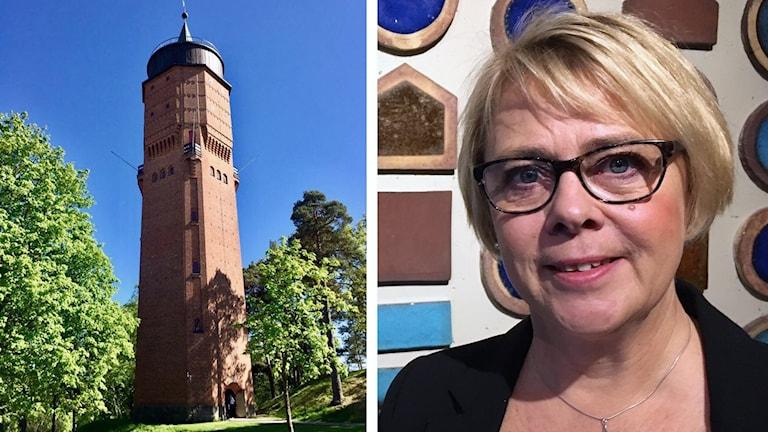 Vattentornet i Säffle och Katarina Kristoffersson. Foto: Säffle kommun och Sveriges Radio.