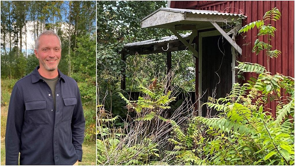 Montage med en man som står i skogen och ett övergivet hus.