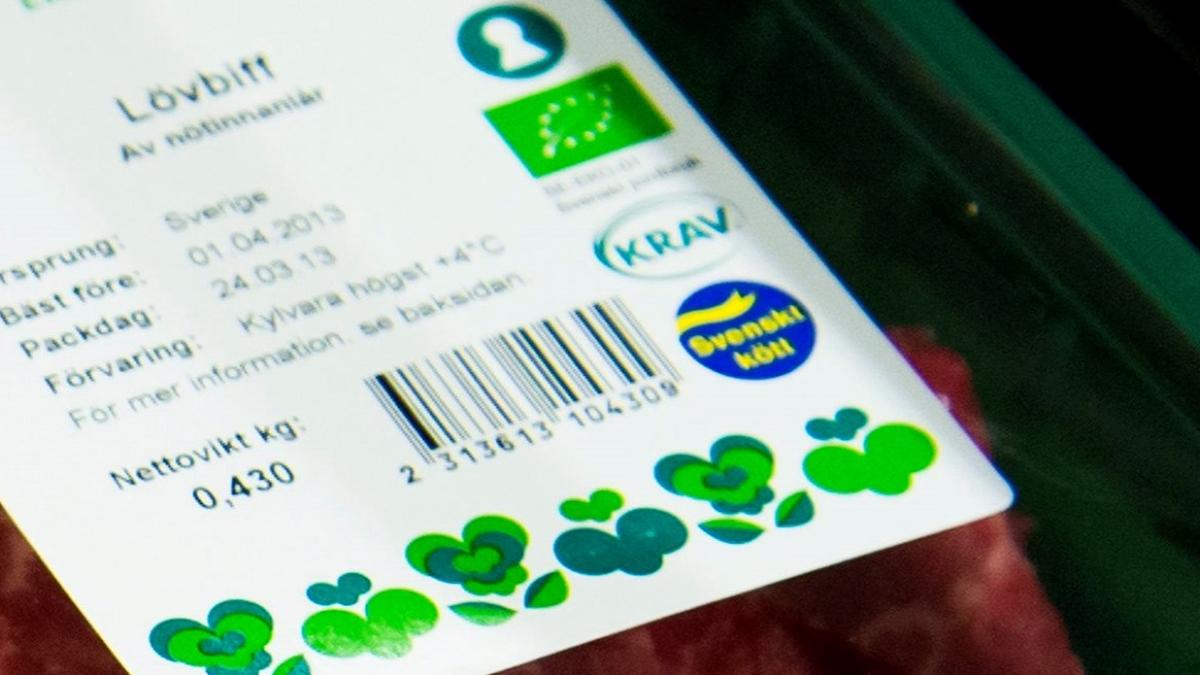 Ekologiskt kött i en butik. Foto: Claudio Bresciani/TT.