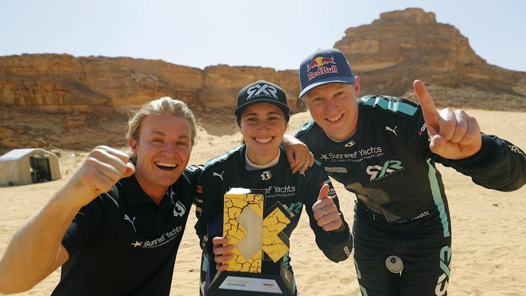 Teamets grundare Nico Rosberg och förarna Molly Taylor och Johan Kristoffersson.