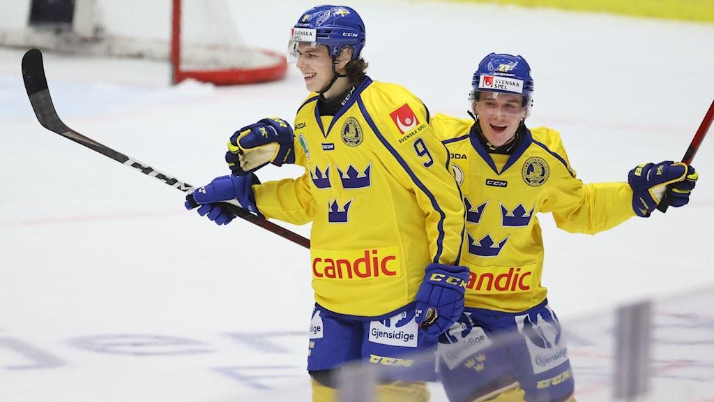 Två hockeyspelare som jublar.