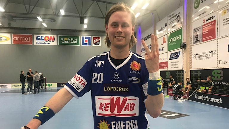 Tre nya mål från Adam Colling efter vinsten mot Åstorp/Kvidinge. Foto: Daniel Viklund/ Sveriges Radio.