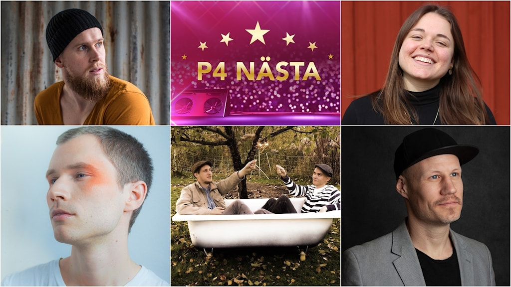 Collage med fem artister i P4 Nästa.
